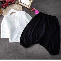 2pcs Boys Girls Chinese Style Clothing Set Kids Activity School Casual White Shirt And Black Pant