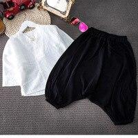 2 unids muchachas de los cabritos de la ropa del estilo Chino la actividad escolar casual camisa blanca y pantalón negro conjunto bebé ropa de verano 2-7 T