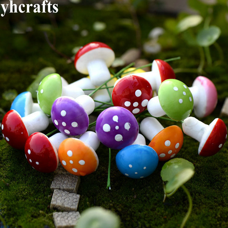 16PCS/LOT,8 Color Polystyrene Mushroom Easter Crafts Spring Decoration Garden Flower Pot Ornament Simulation Cute Mini Cheap OEM