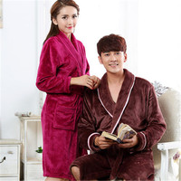 Men And Women S Couple Fall And Winter Coral Fleece Print Thicken Warm Robes Bathrobe Nightgown