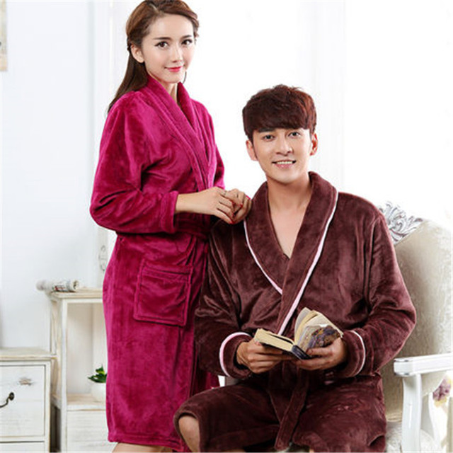Couples Bath Robe Women Bathroom Robe Men Bathrobe Men Pajama Thick Long Spa Robe Shower Homewear Coral Fleece