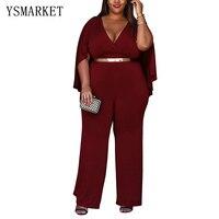 Hot Summer High Waist Slim Fit Jumpsuit for Women Plus Size xl xxl xxxl Elegant Office Style Cape Sleeve Long Rompers H0084
