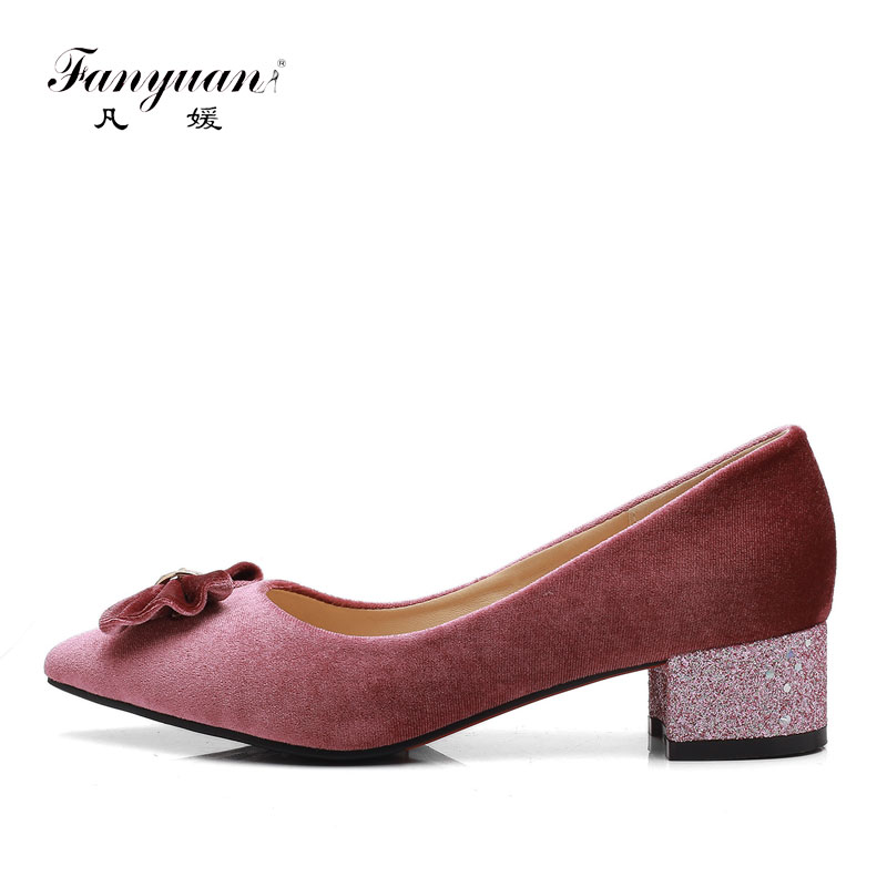 Fanyuan Spring women Pointy toe low Heels sweet Bow-knot Dress shoes Bling Block Heels classy ladies Office/Party Pumps Red Pink цена