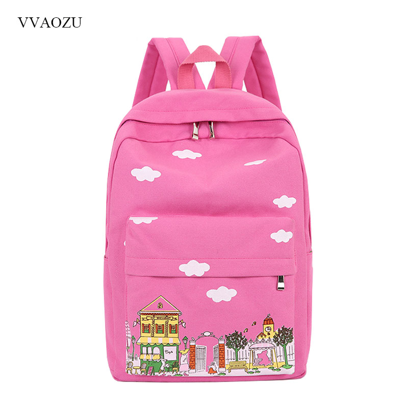 Women Canvas Backpack Rucksack Cartoon Castle Cloud Printed Preppy Style Schoolbag for Teenager Girls Mochila Mujer