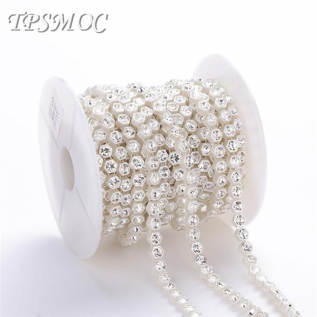 TPSMOC 10yards 7mm pearl with crystal rhinestone chain DIY garland wedding  decoration Sew Trim FlatBack pearls 8e3c1236dfe7