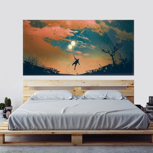 Image 2 - Beautiful Sky Balloon And Boy Wall Sticker Bed Head Stickers Kids Bedroom Wall Sticker Home Decor For Childrens Bedroom