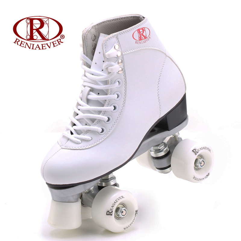 RENIAEVER roller skate  double row skating  white shoes 4  white wheels nylon plate free shippingRENIAEVER roller skate  double row skating  white shoes 4  white wheels nylon plate free shipping