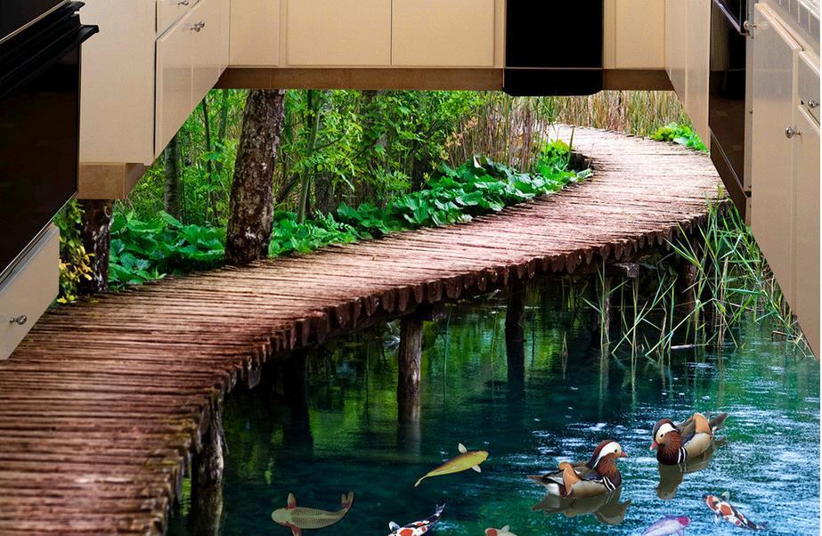 3d stereoscopic wallpaper custom 3d floor bridge landscape for Scenery wallpaper for home uk