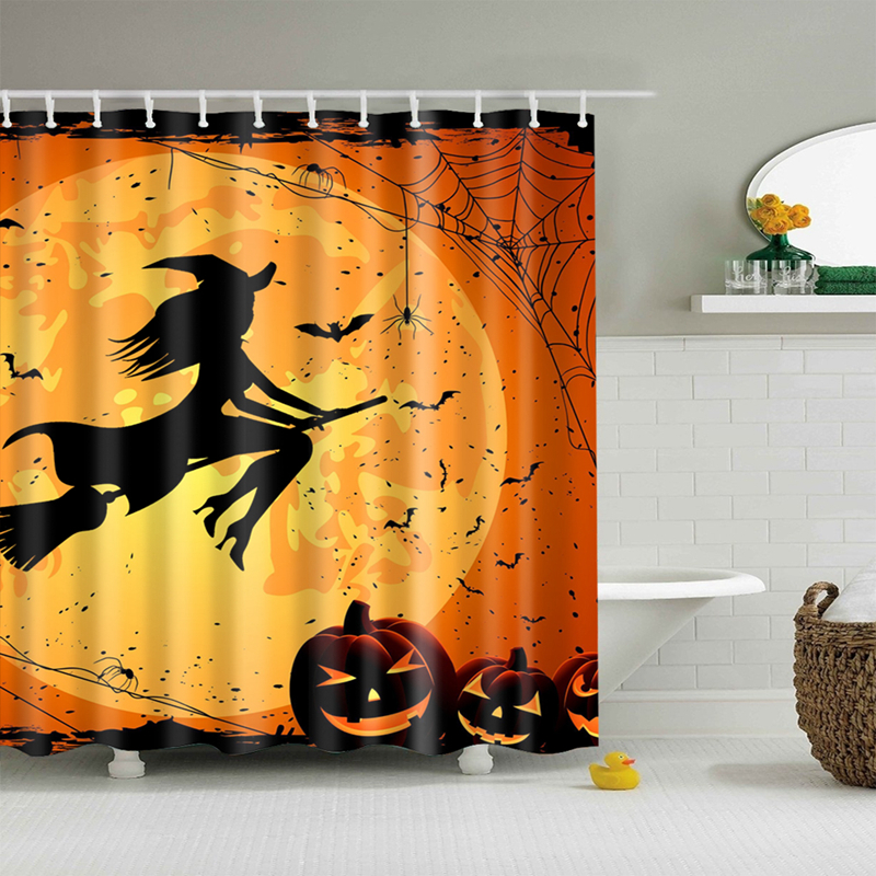 New Colorful Eco Friendly Halloween Pumpkin Light Witch Terror Polyester High Quality Washable Bath Decor