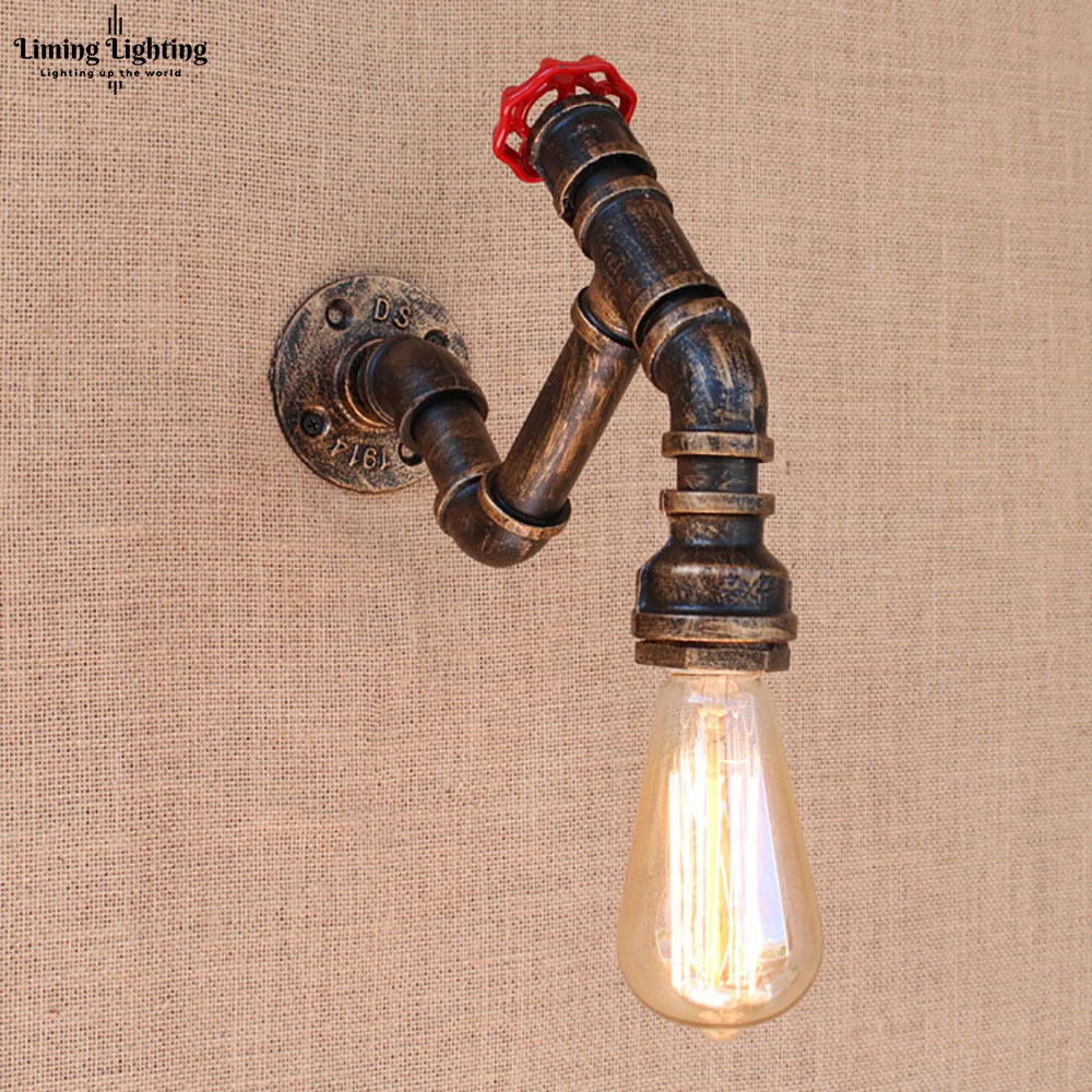 2 Style Art Deco Black Metal Vintage Water Pipe Bedside Wall Lamps With Led/edison E27 Lights For Cafe Loft Bar Living Room2 Style Art Deco Black Metal Vintage Water Pipe Bedside Wall Lamps With Led/edison E27 Lights For Cafe Loft Bar Living Room
