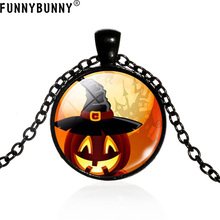 FUNNYBUNNY New Retro Halloween Pumpkin Spooky Glass Pendant Necklace 3 Color Gift Party favors