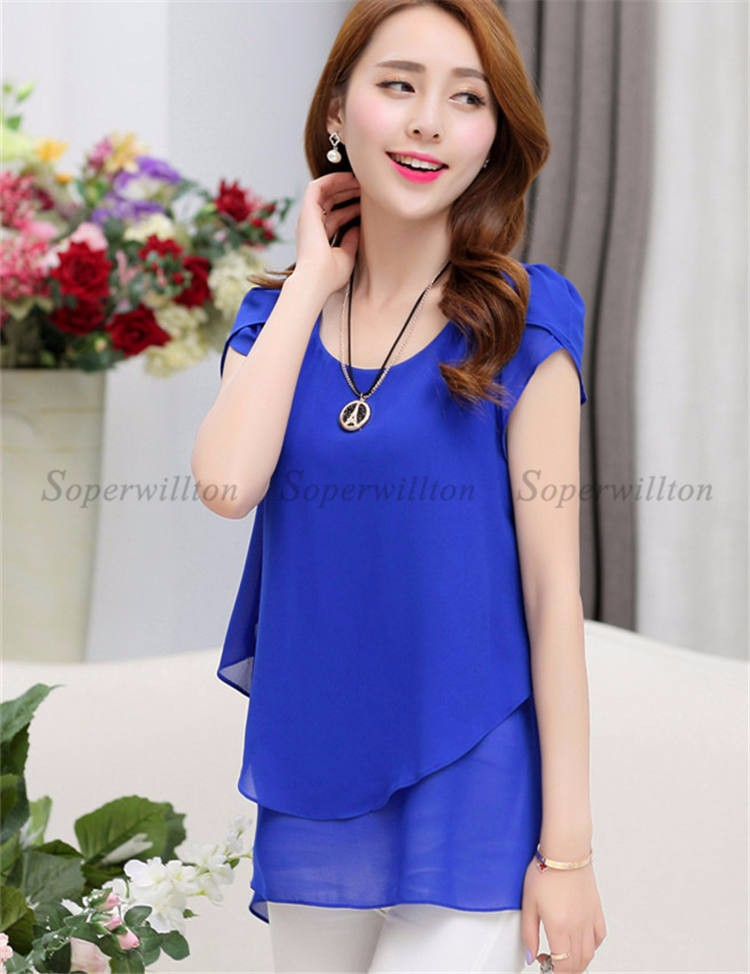 HTB1Xc8cJVXXXXXPXXXXq6xXFXXXY - Soperwillton New Summer Women Blouse Loose Shirt O-Neck Chiffon Blouse Female Short Sleeve Blouse Plus Size 5XL Shirts Tops