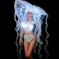 LED Big Hat White Pearls Bra Bikini Women Costume Nightclub Bar Women Singer Dancer Stage Outfit Models Catwalk Party Dance Wear