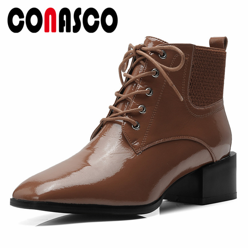 CONASCO Fashion Women Corss-tied Ankle Boots High Heels Autumn Winter Square Toe Sexy Martin Shoes Woman Short Basic BootsCONASCO Fashion Women Corss-tied Ankle Boots High Heels Autumn Winter Square Toe Sexy Martin Shoes Woman Short Basic Boots