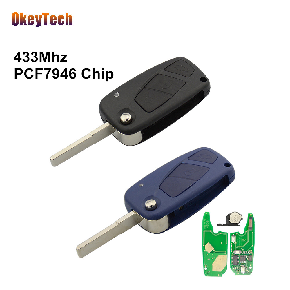 OkeyTech for Fiat Remote Key 433Mhz PCF7946 Chip 3 Button Flip Folding Uncut Blade For Fiat 500 Panda Idea Punto Stilo Ducato okeytech colorful remote car key shell cover replacement protective case for fiat 500 panda punto bravo flip folding 3 button