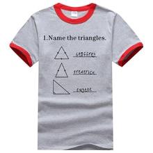 2017 Summer Short Sleeve Shirt Men Adult Science Shirt Name The Triangles Geometric Printed  100% Cotton Ringer T Shirts Men