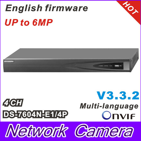 HIK HD 5MP NVR DS-7604N-E1/4P With 4POE for IP Camera Network Video Recorder Multi-language 4CH NVR hik multi language ds 2cd6412fwd camera ds 2cd6412fwd c2 poe pinhole covert separated network camera for shop home surveillance