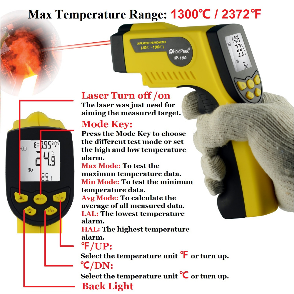 HoldPeak HP-1300 Handheld Infrared Thermometer Non Contact Digital Thermometer Gun with Laser -50--1300'C / -58--2372'F holdpeak hp 1320 digital laser infrared ir thermometer gun meter non contact 50 1500c temperature tester pyrometer