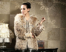 Glamorous Womens Real 100% Raccoon Fur Coat Jacket Spring Fashion Strip Raccoon Fur Outwear LX00047