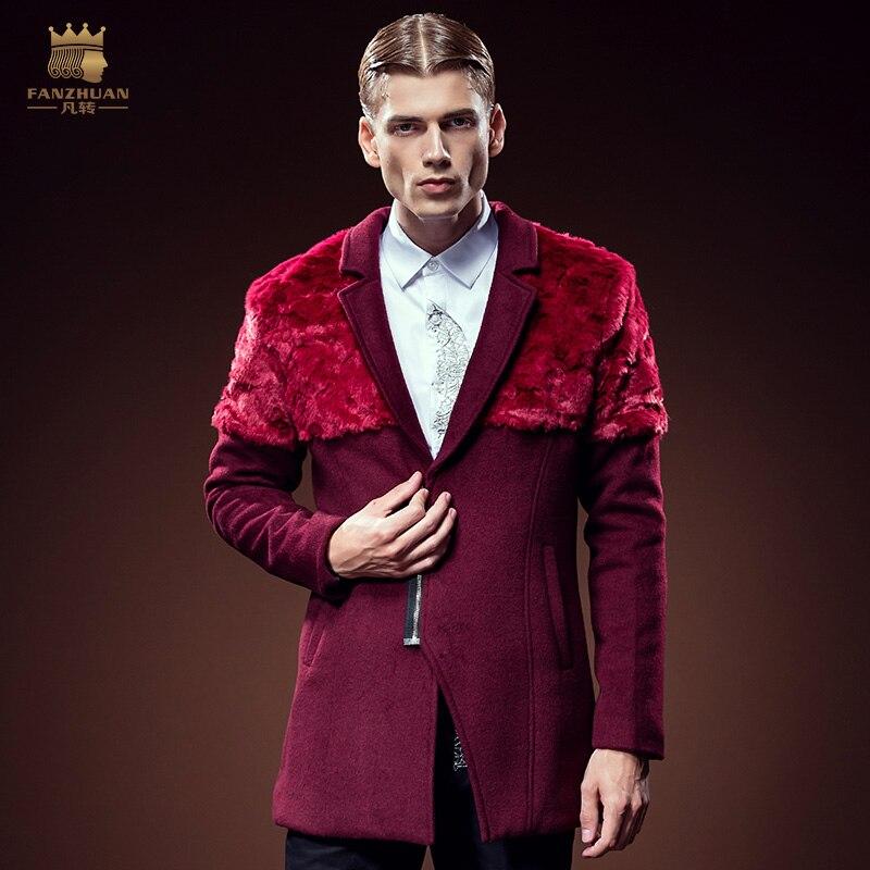 Бесплатная доставка; новые модные повседневные мужские зимние Для мужчин волосы длинные мех шить вино красное пальто 610072 личности структур... ...