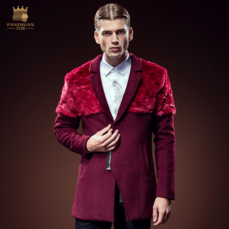 Free Shipping New fashion casual male Winter Men s hair long fur stitching wine red coat
