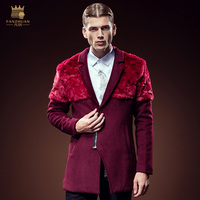 Free Shipping New fashion casual male Winter Men's hair long fur stitching wine red coat 610072 personality structure fanzhuan
