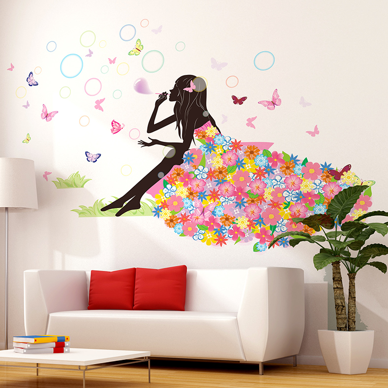 Girl blowing bubbles wall sticker interior design cartoon for Home design diy