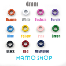 Free Shipping 200pcs/lot Hole Size 4mm Metal Eyelets Buckle Metallic Scrapbook garment accessories Mixed Color LeatherCraft