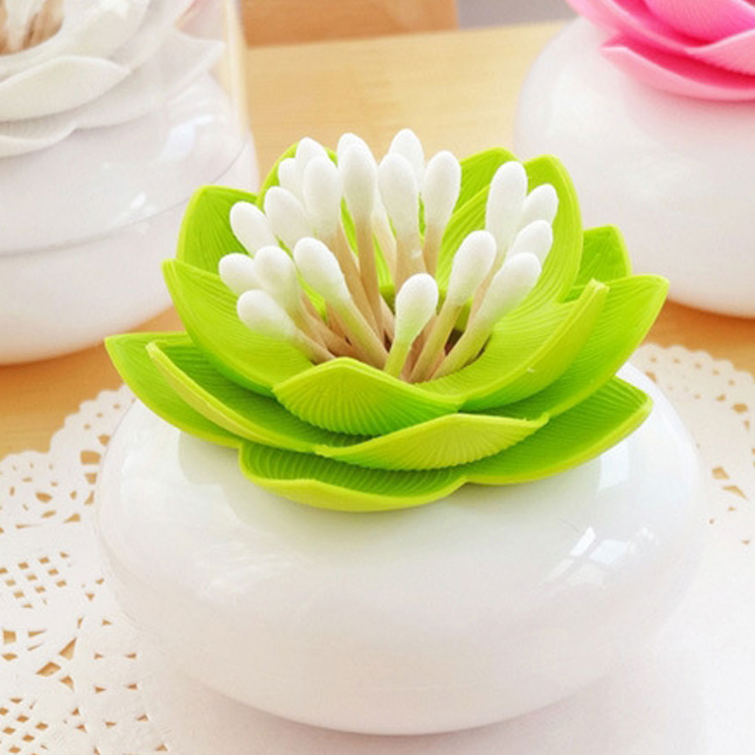 Creative Lotus Cure-Dents Titulaire Boîte de Coton-Tige Coton-Tige Titulaire Cas Décorer la Table De Boîte De Rangement Organisateur 8 cm