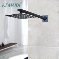 KEMAIDI 8 12 16 Inch Black Shower Head Rainfall Tub LED Shower Faucet Bathtub Rain Shower Head Square Shower Head