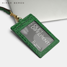 Hiram Beron Custom Name Service tag Card Holder lanyard ID holder retractable embossed crocodile pattern cow leather