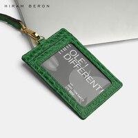 Hiram Beron Custom Name Service Name tag Card Holder lanyard ID holder retractable embossed crocodile pattern cow leather