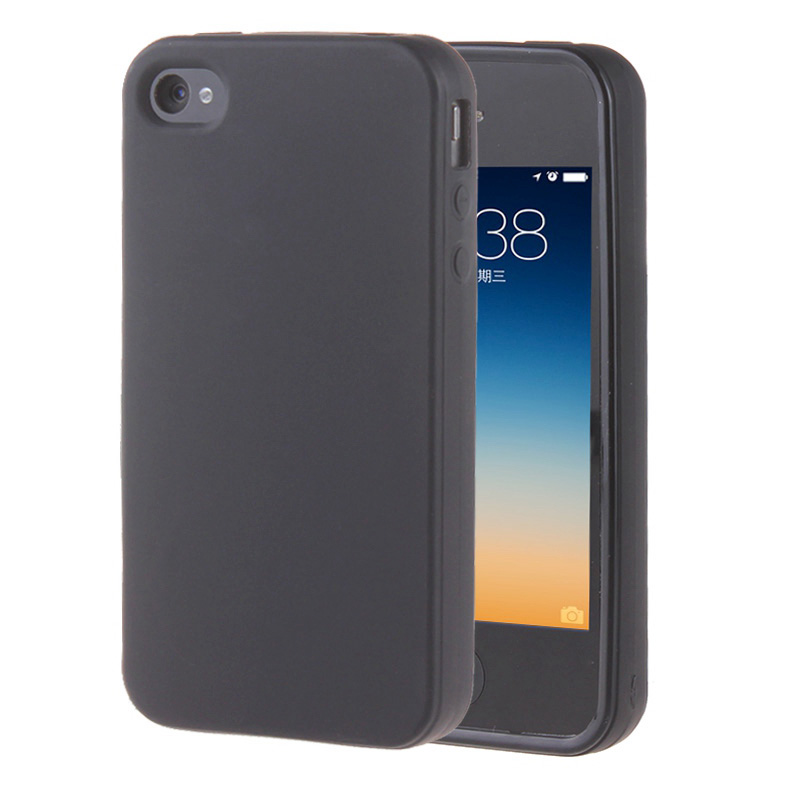 Black Gel TPU Slim Soft Anti Skiding Case Back Cover For Apple iPhone 4 4S 4G