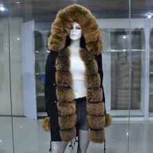 New women's Large real fox fur fur collar parkas for women hooded long coat parkas outwear rex rabbit fur lining winter jacket