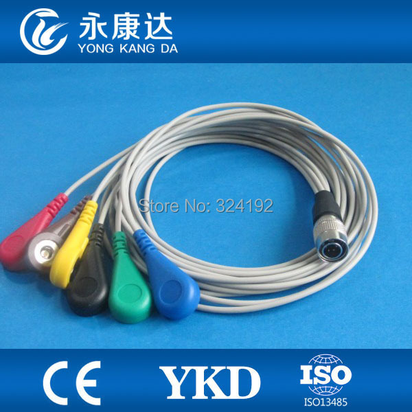 Compatible PI Din style Holter ecg cable,IEC/6-lead snap ecg leadwires for health monitorsCompatible PI Din style Holter ecg cable,IEC/6-lead snap ecg leadwires for health monitors