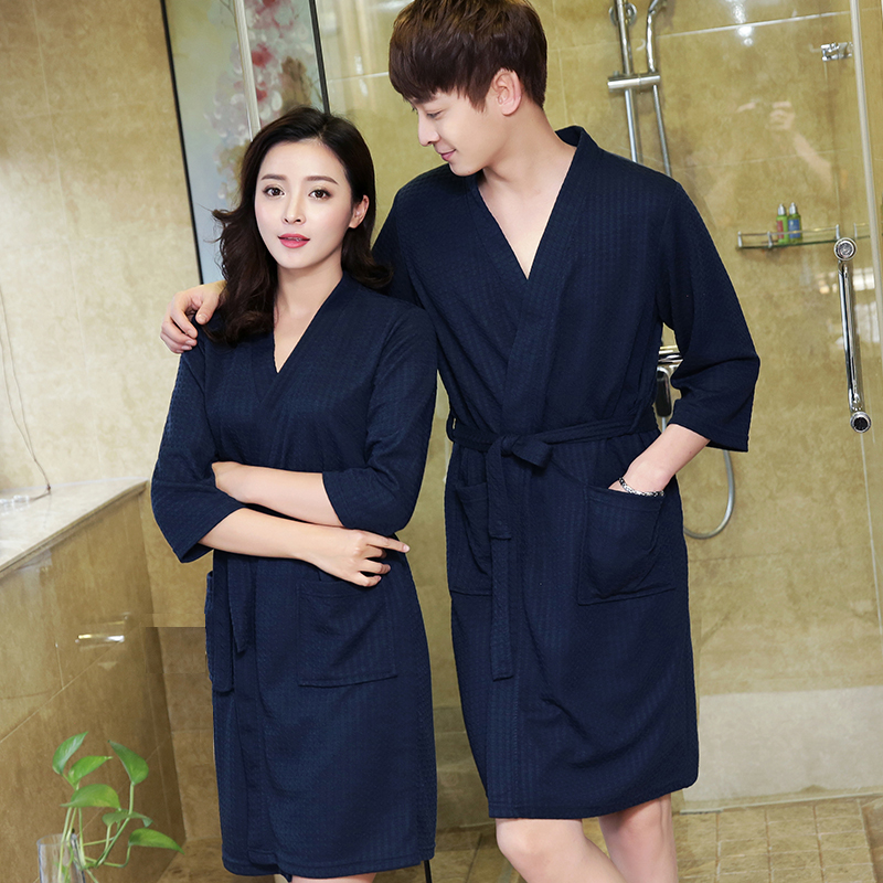 One Sale Men's Plus Size Waffle Bath Robe Men Water Absorption Sexy Kimono Bathrobe Male Dressing Gown Skin Care Lounge Robes