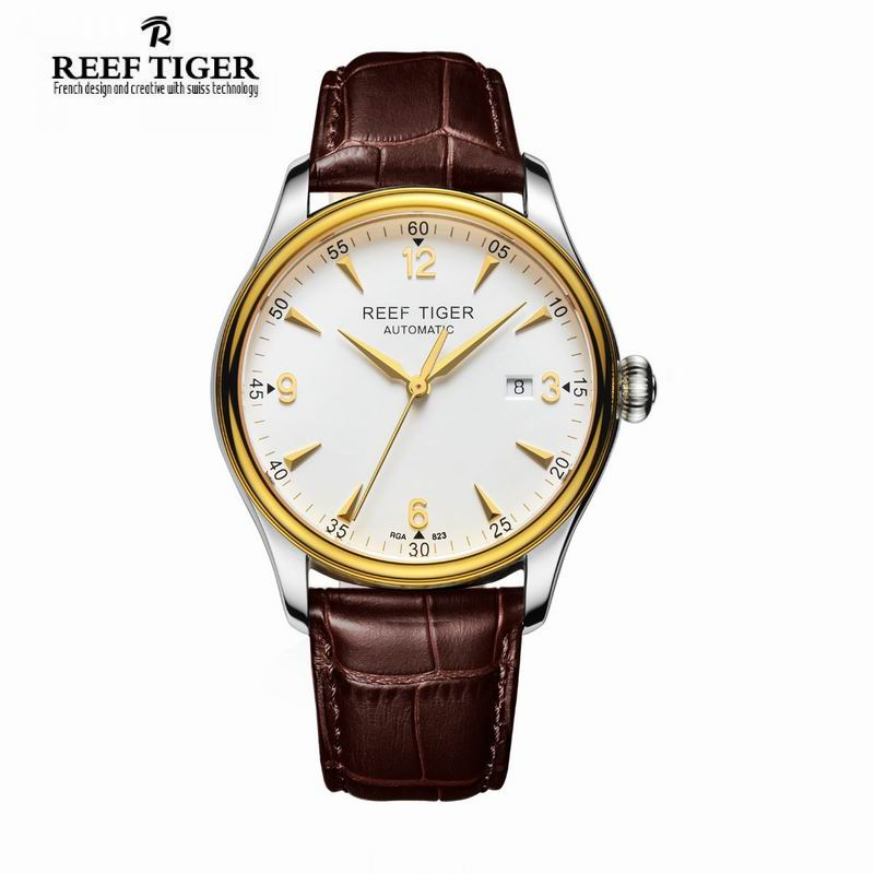 Reef Tiger/RT Watches Business Yellow Gold Steel Watches For Men With Date and Leather Strap Casual Automatic Watches RGA823 yn e3 rt ttl radio trigger speedlite transmitter as st e3 rt for canon 600ex rt new arrival