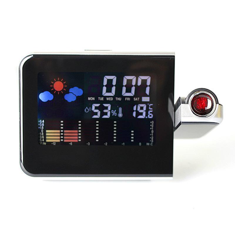 LED Display Digital Projection Alarm Clock Luminous Silent Weather Station with Temperature Desktop Digital Table Clock F