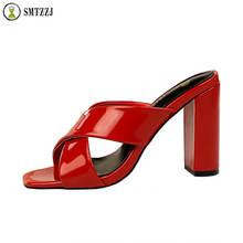 Luxury Solid Design 8 cm High Heels summer Black Red women slippers square heels Slides For Elegant Ladies shoes sandals цены онлайн