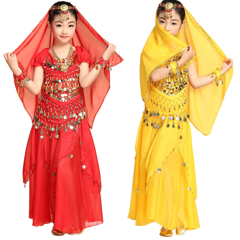 Girls Belly dance oriental Belly Indian gypsy dance dancing costumes clothes red/rose/yellow/sky blue 4 kind colors 2-3-4-5pcs