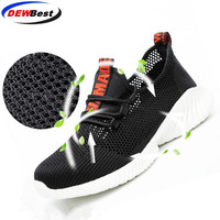 Steel toe shoes breathable safety shoes men's and women Lightweight summer anti-smashing piercing work sandals Single mesh sneak