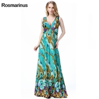 Rosmarinus Bohemian Dress Green Women Summer V Neck Sleeveless High Waist Floor Length Long Dress Floral Print Beach Sundress