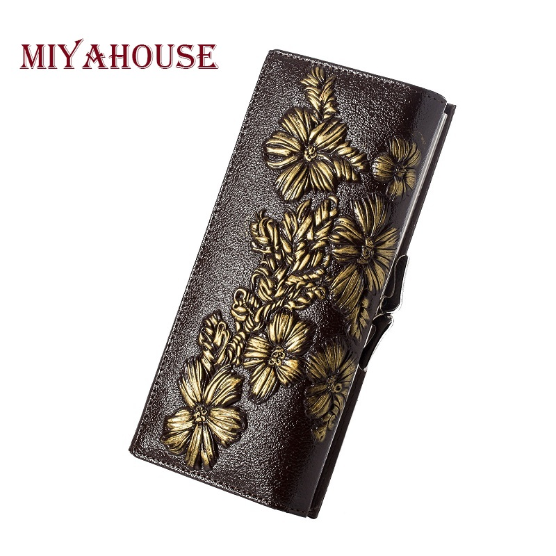 Miyahouse Genuine Leather Female Wallets Embossed Floral Long Purses Women Card Holder Wallet Luxury Leather Hasp Clutch Purse цена