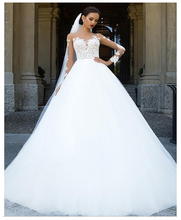 Wedding Dresses lORIE Long Sleeves Sweep Train Plus Size Bridal Dress Boho Lace Appliques Gown