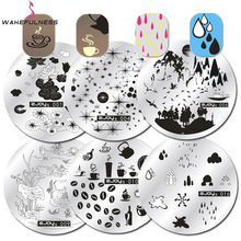 WAKEFULNESS Round Nail Stamping Plate Tekande Champignon Regndråbe Image Nail Art Stamp Stencils Manicure Template Tool