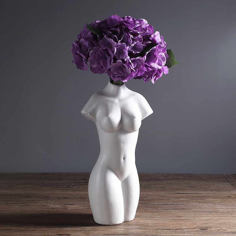 Abstact nue porcelaine femme Sculpture Vase à fleurs décoratif céramique beauté corps Art modèle cadeau artisanat ornement accessoires