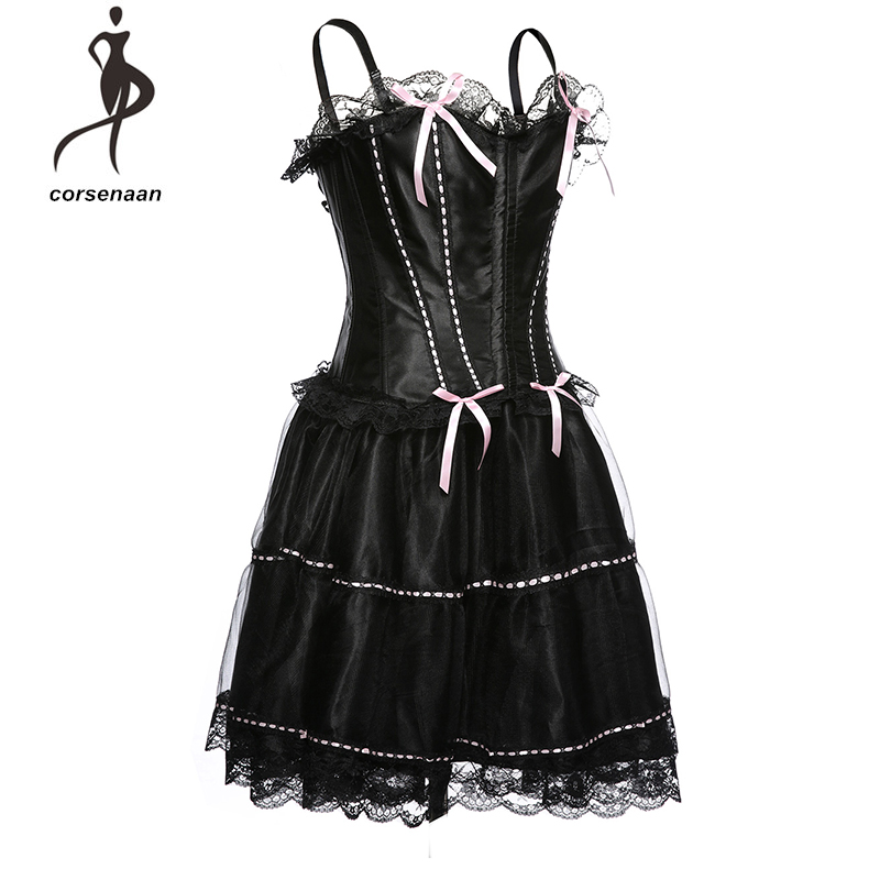Spaghetti Straps Pink And Red Bowknot Women Sexy Bustier Steampunk Corset With Skirt Set 067#