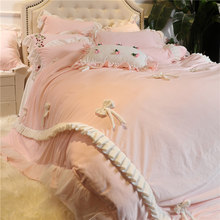 4/6/7pcs Baby class velvet flannel bowknot lace Bedding set Warm Fleece Duvet cover set Bed skirt Queen King size bed linen(China)