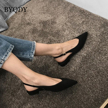 Купить с кэшбэком BYQDY Sexy Black Low Heels Women Pumps Buckle Flock Dress Women Casual Shoes Pointed Toe Slingbacks Spring Faux Suede Court Shoe