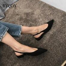 BYQDY Sexy Black Low Heels Women Pumps Buckle Flock Dress Women Casual Shoes Poi